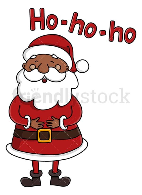 Black santa claus laughing ho ho ho. PNG - JPG and vector EPS (infinitely scalable).