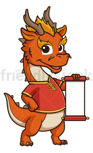 Chinese new year dragon with blank scroll. PNG - JPG and vector EPS (infinitely scalable).