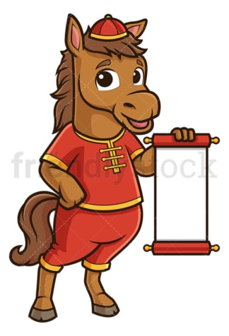 Chinese new year horse with blank scroll. PNG - JPG and vector EPS (infinitely scalable).