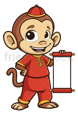 Chinese new year monkey with blank scroll. PNG - JPG and vector EPS (infinitely scalable).