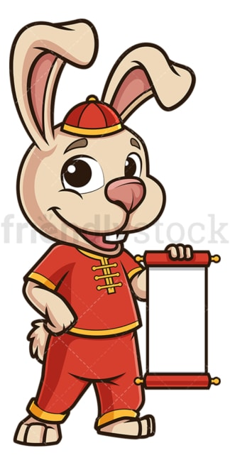 Chinese new year rabbit with blank scroll. PNG - JPG and vector EPS (infinitely scalable).