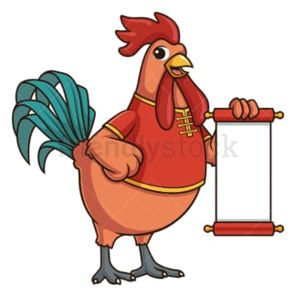 Chinese new year rooster with blank scroll. PNG - JPG and vector EPS (infinitely scalable).