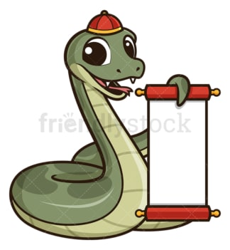 Chinese new year snake with blank scroll. PNG - JPG and vector EPS (infinitely scalable).