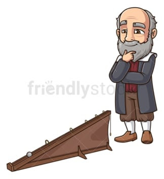 Galileo galilei and his inclined plane. PNG - JPG and vector EPS (infinitely scalable).
