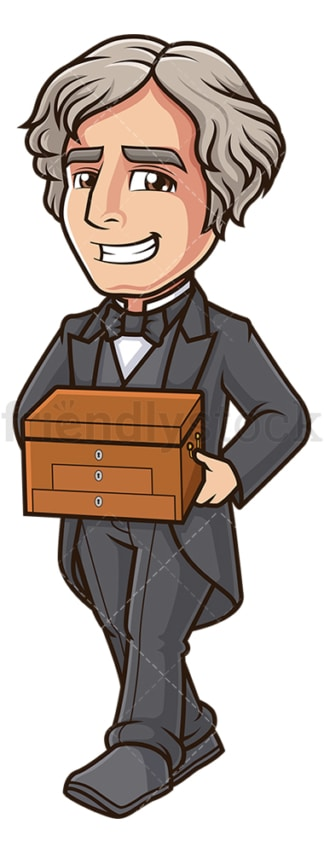 Michael faraday holding chemical chest. PNG - JPG and vector EPS (infinitely scalable).