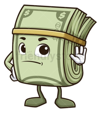 Money mascot stop gesture. PNG - JPG and vector EPS (infinitely scalable).