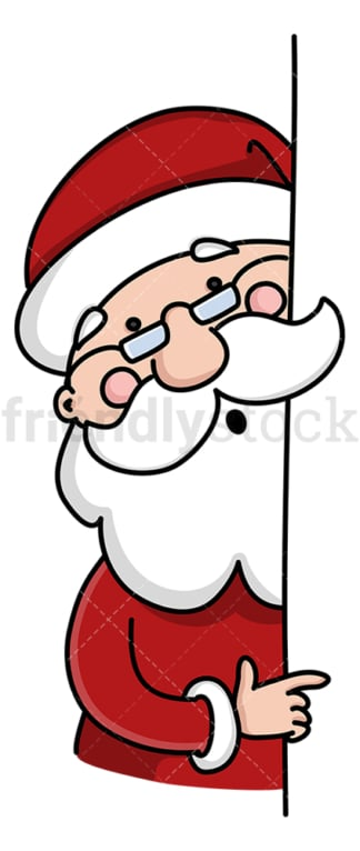 Santa claus behind presentation wall. PNG - JPG and vector EPS (infinitely scalable).