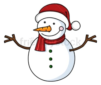 Smiling snowman wearing santa hat. PNG - JPG and vector EPS file formats (infinitely scalable). Image isolated on transparent background.