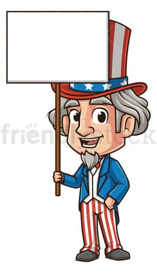 Uncle sam holding empty sign. PNG - JPG and vector EPS (infinitely scalable).