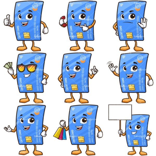 Credit card cartoon character bundle. PNG - JPG and infinitely scalable vector EPS - on white or transparent background.