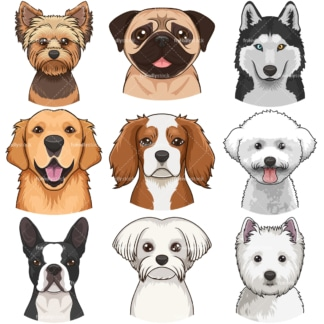 Dog faces clipart bundle 1. PNG - JPG and infinitely scalable vector EPS - on white or transparent background.