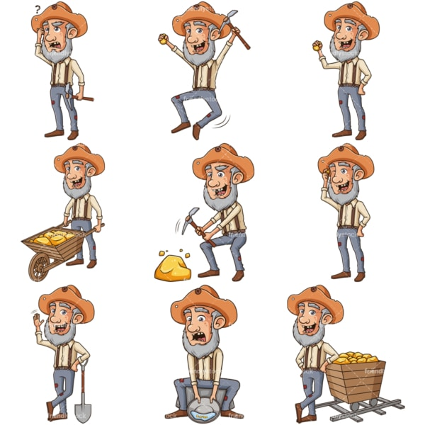 Gold miner clipart bundle. PNG - JPG and infinitely scalable vector EPS - on white or transparent background.