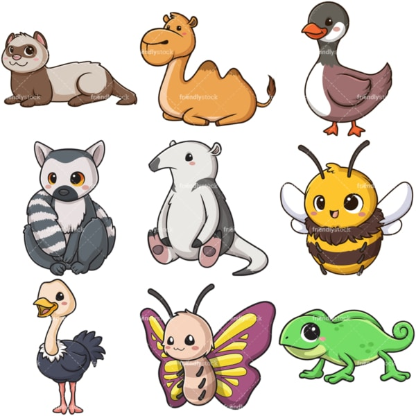 Kawaii animals clipart bundle 7. PNG - JPG and infinitely scalable vector EPS - on white or transparent background.