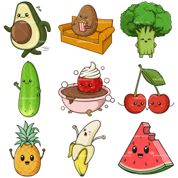 Kawaii food and fruit clipart bundle. PNG - JPG and infinitely scalable vector EPS - on white or transparent background.