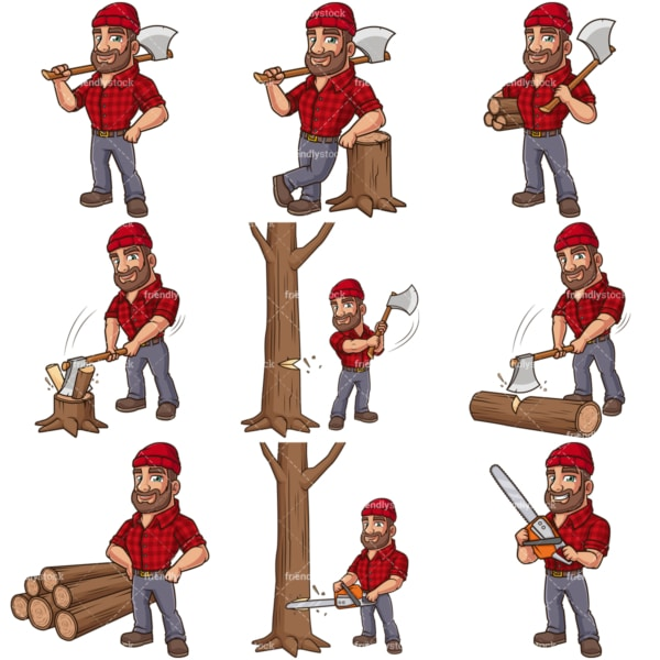 North american lumberjack cartoon. PNG - JPG and infinitely scalable vector EPS - on white or transparent background.