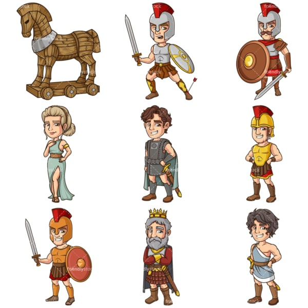 Trojan war clipart bundle. PNG - JPG and infinitely scalable vector EPS - on white or transparent background.