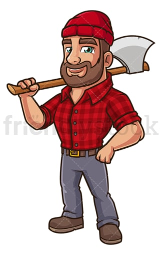 Cartoon lumberjack with axe. PNG - JPG and vector EPS (infinitely scalable).