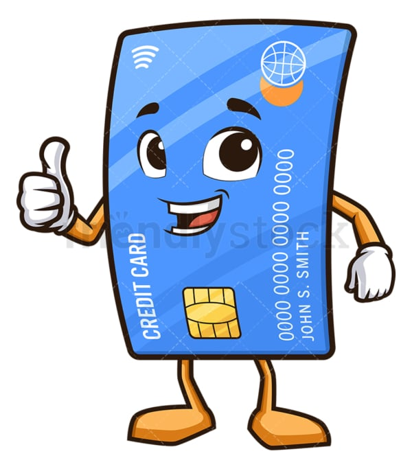 Credit card thumbs up. PNG - JPG and vector EPS (infinitely scalable).