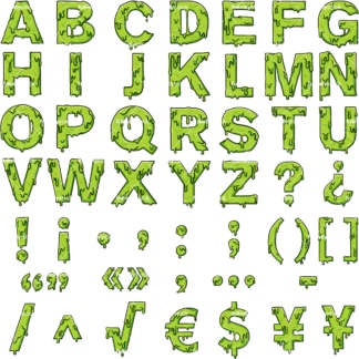 Slime alphabet letters clipart. PNG - JPG and vector EPS file formats (infinitely scalable).