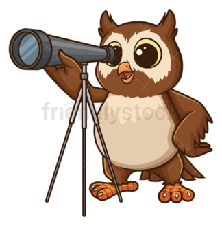 Owl using telescope. PNG - JPG and vector EPS file formats (infinitely scalable). Image isolated on transparent background.
