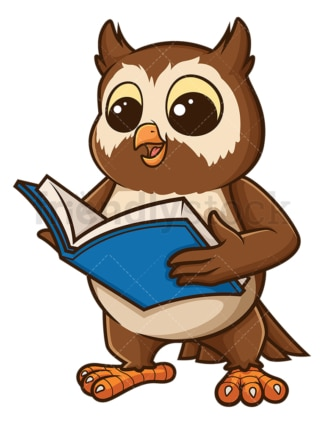 Owl reading a book. PNG - JPG and vector EPS file formats (infinitely scalable). Image isolated on transparent background.