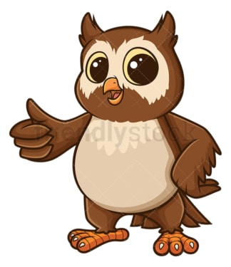 Owl thumbs up gesture. PNG - JPG and vector EPS file formats (infinitely scalable). Image isolated on transparent background.