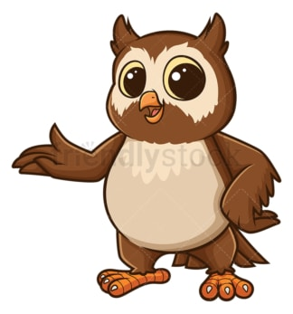 Owl pointing sideways. PNG - JPG and vector EPS file formats (infinitely scalable). Image isolated on transparent background.