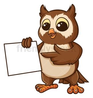 Owl with blank sign. PNG - JPG and vector EPS file formats (infinitely scalable). Image isolated on transparent background.