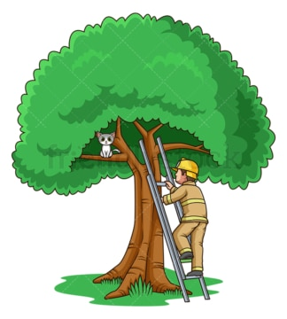 Firefighter saving cat on tree. PNG - JPG and vector EPS file formats (infinitely scalable). Image isolated on transparent background.