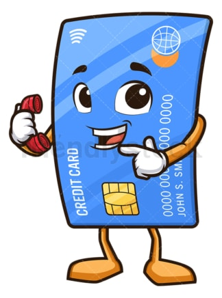 Credit card mascot call me. PNG - JPG and vector EPS (infinitely scalable).