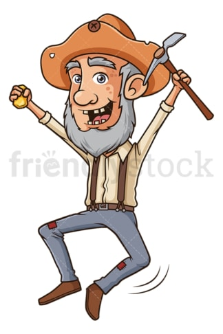 Happy gold miner. PNG - JPG and vector EPS (infinitely scalable).