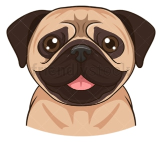 Pug face. PNG - JPG and vector EPS (infinitely scalable).