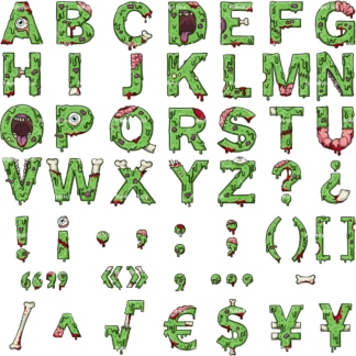 Zombie alphabet letters clipart. PNG - JPG and vector EPS file formats (infinitely scalable).