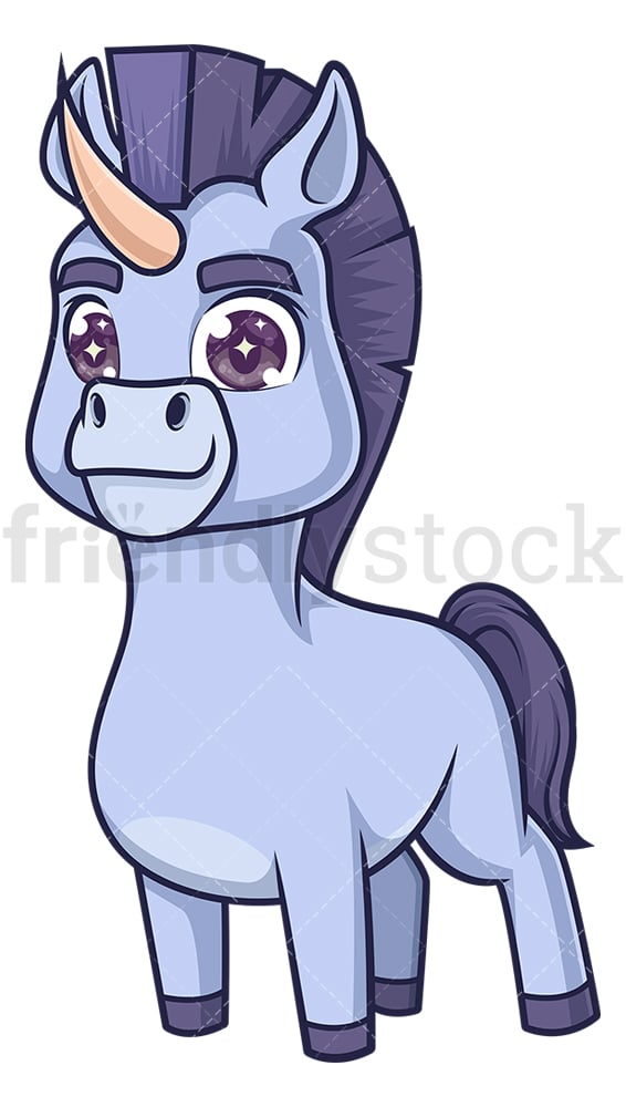 Blue donkey unicorn. PNG - JPG and vector EPS (infinitely scalable).