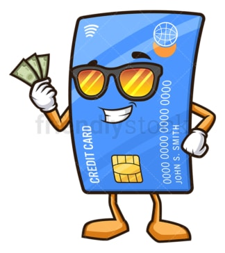 Credit card holding cash. PNG - JPG and vector EPS (infinitely scalable).