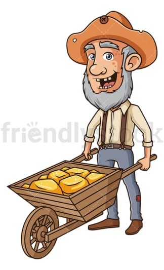 Gold miner with wheelbarrow . PNG - JPG and vector EPS (infinitely scalable).