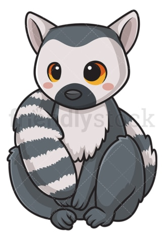 Kawaii lemur. PNG - JPG and vector EPS (infinitely scalable).