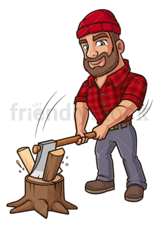 Lumberjack chopping wood. PNG - JPG and vector EPS (infinitely scalable).