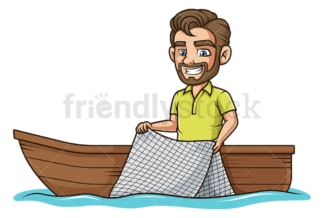 Man on boat fishing with net. PNG - JPG and vector EPS file formats (infinitely scalable). Image isolated on transparent background.