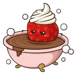Chocolate bath strawberry. PNG - JPG and vector EPS (infinitely scalable).