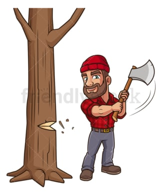 Lumberjack cutting down tree. PNG - JPG and vector EPS (infinitely scalable).