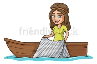 Woman on boat fishing with net. PNG - JPG and vector EPS file formats (infinitely scalable). Image isolated on transparent background.