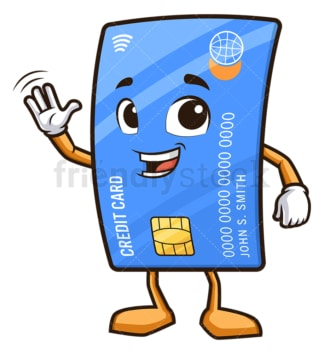 Friendly debit card waving. PNG - JPG and vector EPS (infinitely scalable).