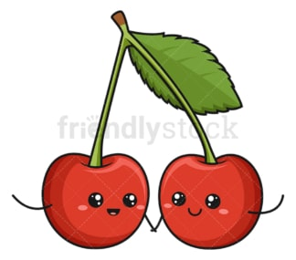 Kawaii cherry. PNG - JPG and vector EPS (infinitely scalable).