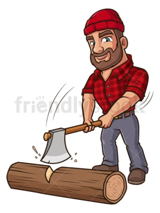Logger cutting tree trunk. PNG - JPG and vector EPS (infinitely scalable).