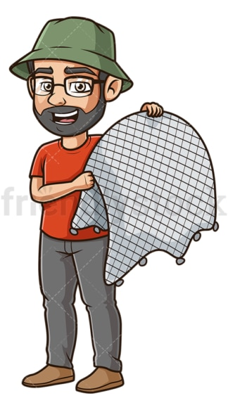 Man holding fishing net. PNG - JPG and vector EPS file formats (infinitely scalable). Image isolated on transparent background.