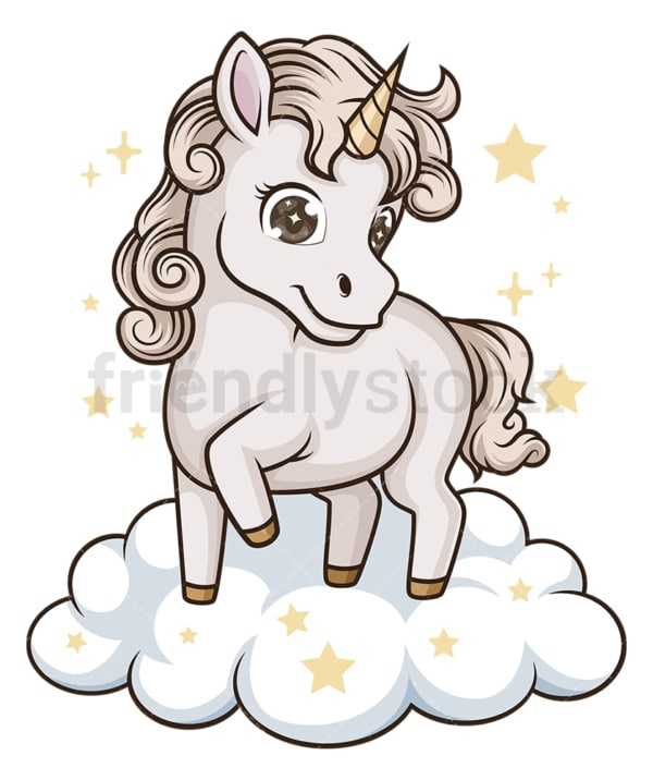Unicorn on cloud. PNG - JPG and vector EPS (infinitely scalable).