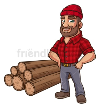 Confident woodcutter. PNG - JPG and vector EPS (infinitely scalable).
