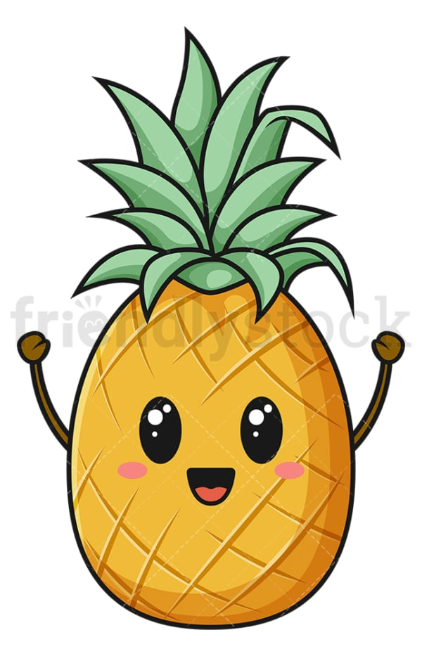 Kawaii pineapple. PNG - JPG and vector EPS (infinitely scalable).