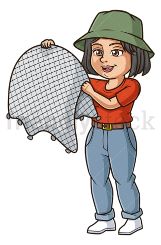 Woman holding fishing net. PNG - JPG and vector EPS file formats (infinitely scalable). Image isolated on transparent background.